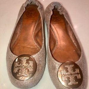 Tory Burch gold sparkle flats, size 7